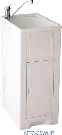 Skinny Mini cabinet with white polmer tub and Right Hand Door