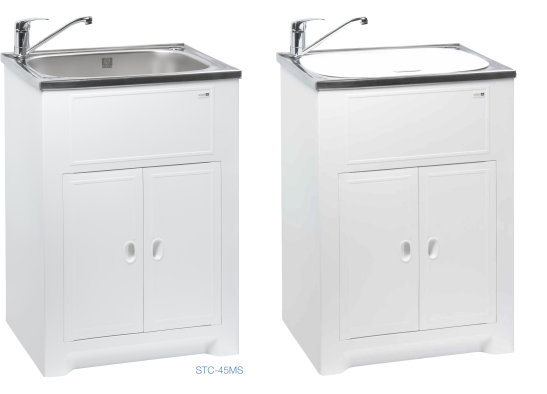 Solo cabinet with stainless steel tub